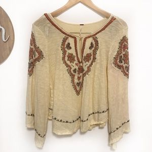 Free people peasant blouse embroidered bell sleeve